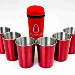 Eco Friendly Stainless Steel Picnic Cups - Celebration / Red Cover
