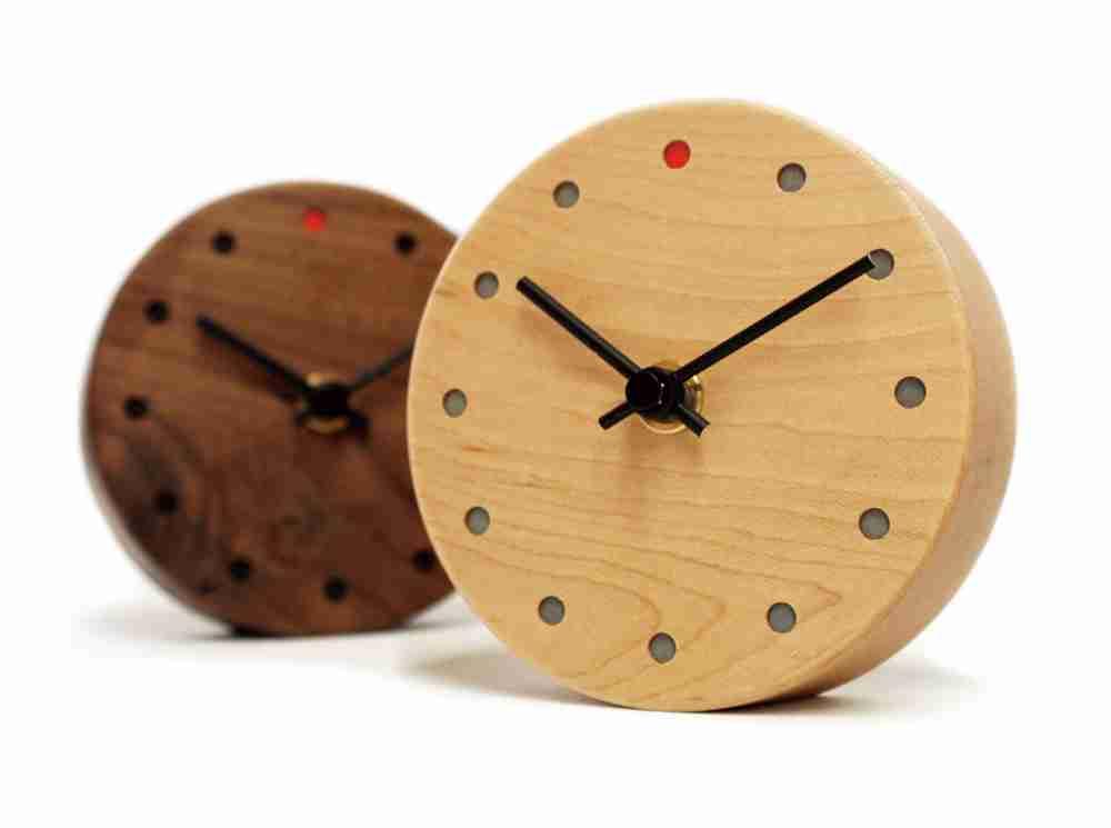 Mini Round Wall Clock in Walnut Wood Japanese Handmade Clock