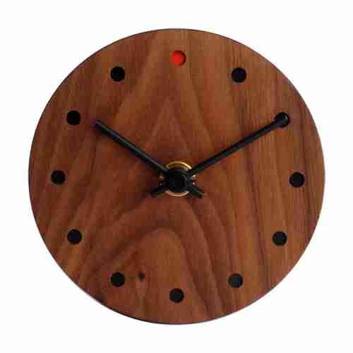 Round Wooden Wall Clock (Small) in Walnut by Hacoa