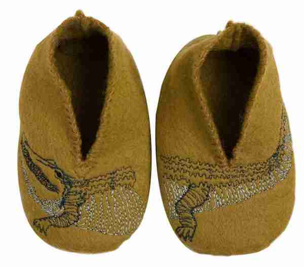 Alli-gator Soft Wool Baby Booties by Coral & Tusk