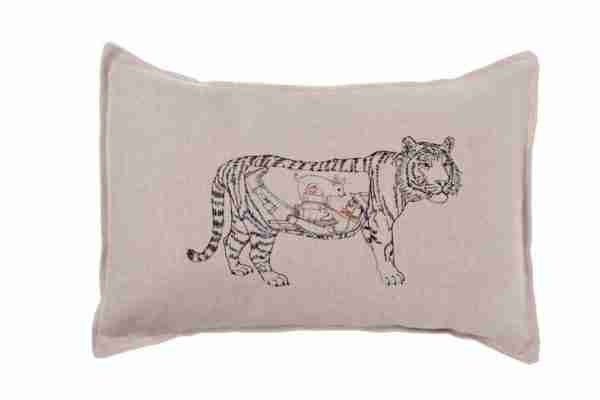 Man Eating Tiger Pillow (Feather-Down) by Coral & Tusk