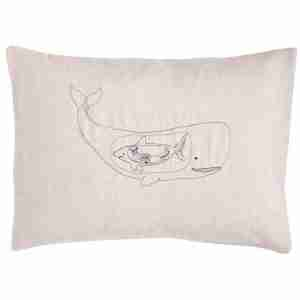 Very Hungry Whale Pillow (Feather-Down) by Coral & Tusk