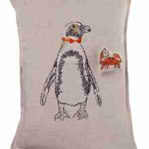 Penguin with a Crab Pocket Linen Pillow (Feather-Down) by Coral & Tusk