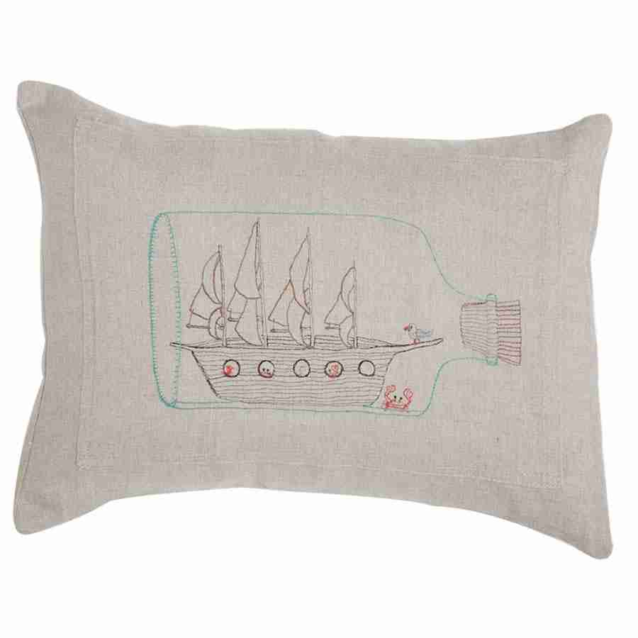 Ship in a Bottle Pillow (Feather-Down) by Coral & Tusk