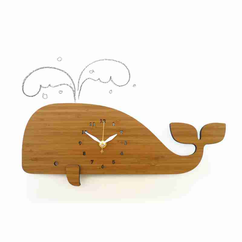 Whale Wall Clock in Eco Friendly Bamboo by Decoylab