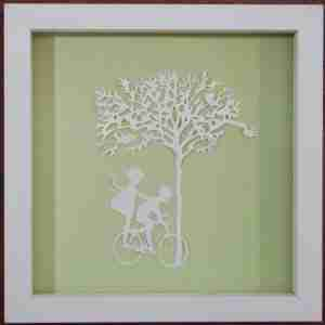 """Paper Cut"" Luxury Fine Art - ""Dinking"" - Children on Bicycle (Framed)"