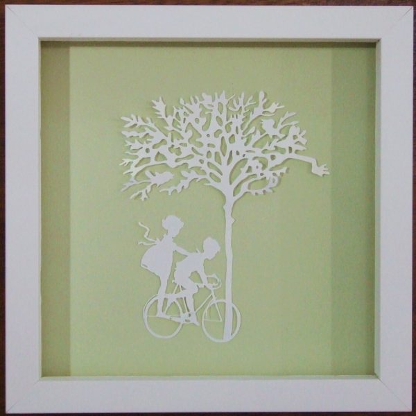 """""""Paper Cut"""" Luxury Fine Art - """"Dinking"""" - Children on Bicycle (Framed)"""