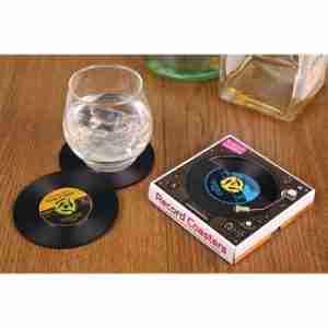 Vinyl Record Coasters Vintage Style Set of Four