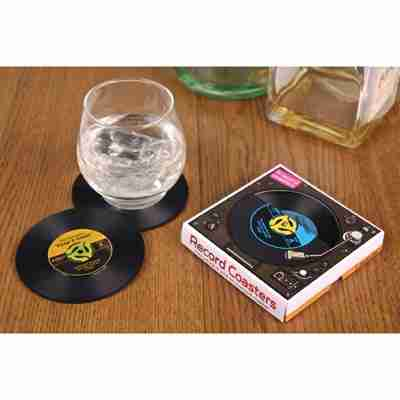 Vinyl Record Coasters Vintage Style Set of Four
