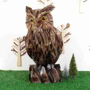 Large Fake Decorative Brown Owl on Tree Stump