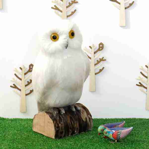 Large Fake Decorative White Owl on Tree Stump