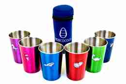 Eco Friendly Stainless Steel Picnic Cups - Favourite Things / Navy Cover