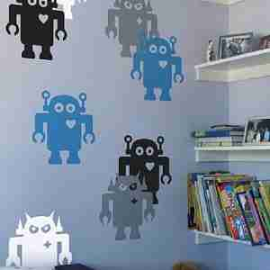 Giant Robot Wall Sticker - Large in Aruba / Silver
