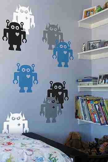 Giant Robot Wall Sticker - Large in Black / White