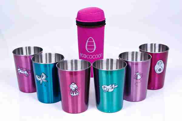 Eco Friendly Stainless Steel Picnic Cups - Girls Dreaming / Pink Cover