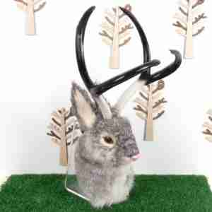 Wall Mountable Eco Fur Mythical Jackalope Head (Grey)