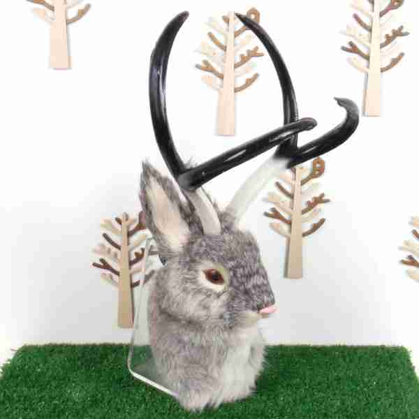 Wall Mountable Eco Fur Mythical Jackalope Head (Grey)
