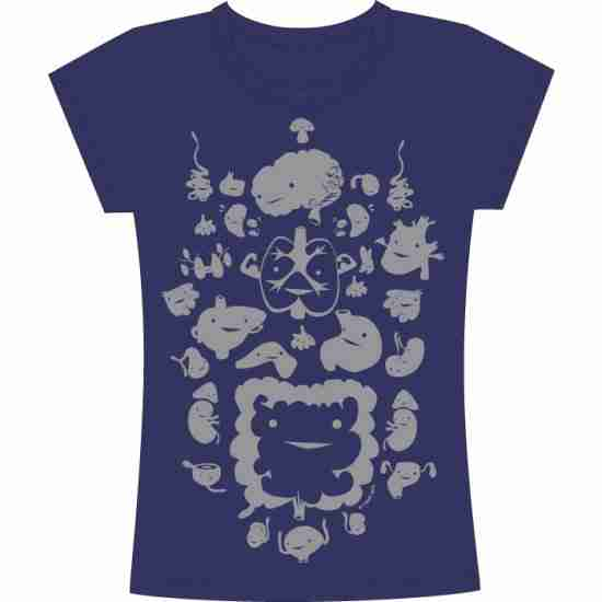 Guts and Glands Metallic Tshirt By I Heart Guts