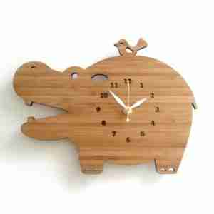 Hippo Clock in Eco Friendly Bamboo by Decoylab (Large)