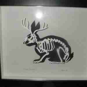 """Paper Cut"" Luxury Fine Art - Jackalope Anatomica (Rabbit with Antelope Horns, Framed)"