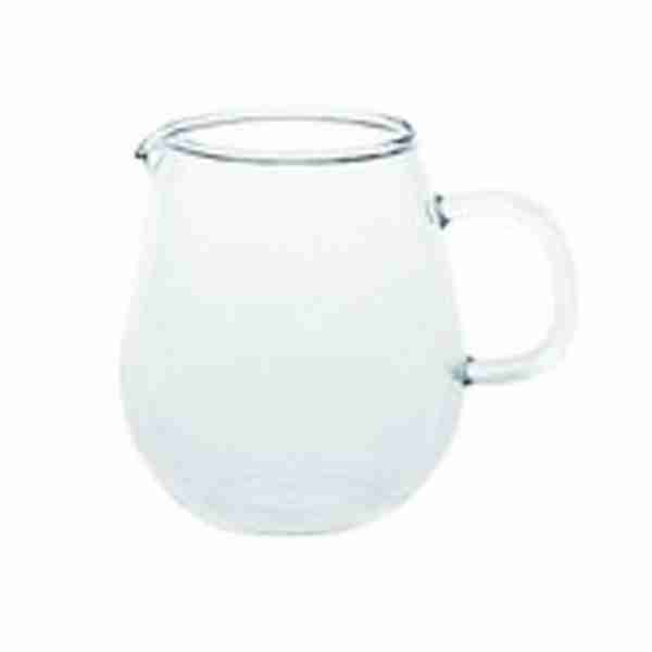 The UNITEA Mini Glass Milk Pitcher or Jug by Kinto Japan