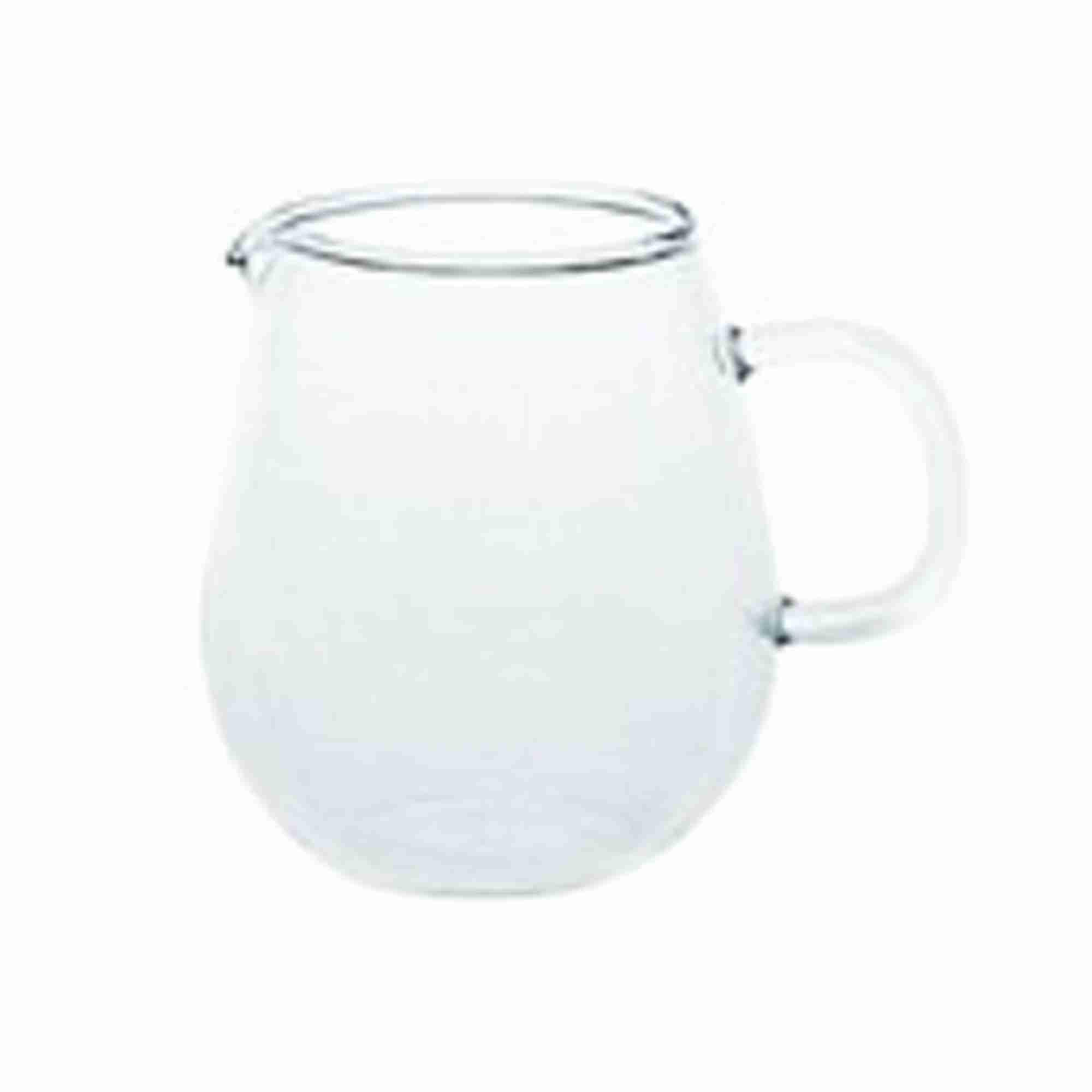 The UNITEA Mini Glass Milk Pitcher or Jug by Kinto Japan