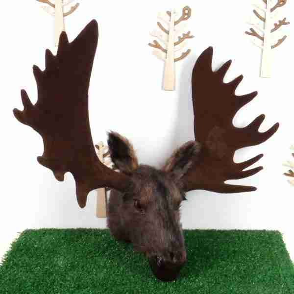 Wall Mountable Eco Fur Moose Head (Medium Size)