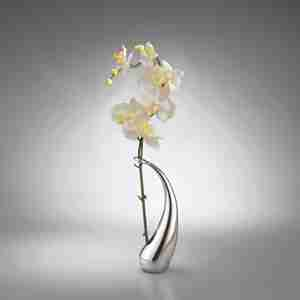 Luxurious Elegant Metal Elbo Bud Vase with Orchid by Nambe