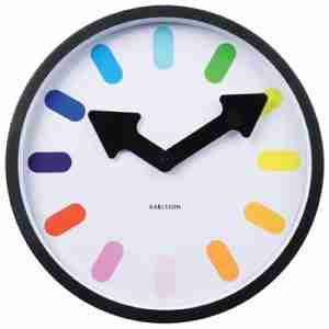Karlsson Wall Clock Pictogram Rainbow with Black Back