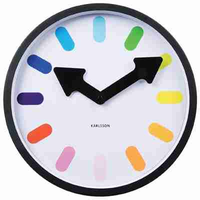 Karlsson Wall Clock Pictogram Rainbow with White Back