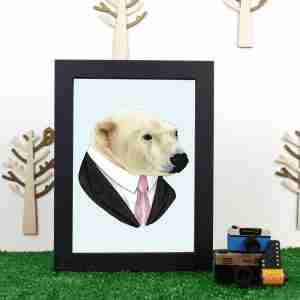 Ryan Berkley Well Dressed Polar bear Framed Print Wall Art