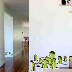 Zeptonn Popping Worms Wall Sticker / Decal in Blue