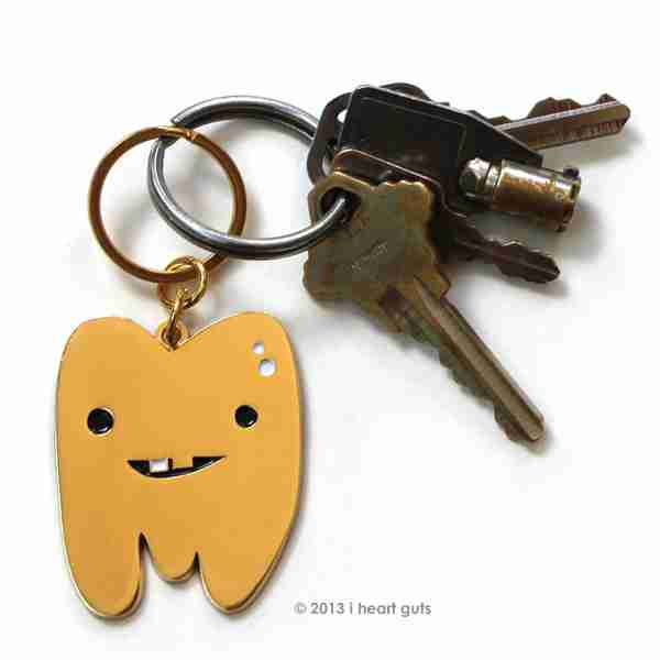 Golden Tooth Keychain by I Heart Guts on Fox & Monocle Australia (with Keys)