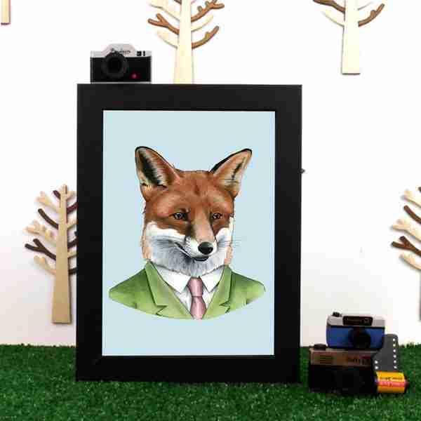 Ryan Berkley Well Dressed Red fox Framed Print Wall Art