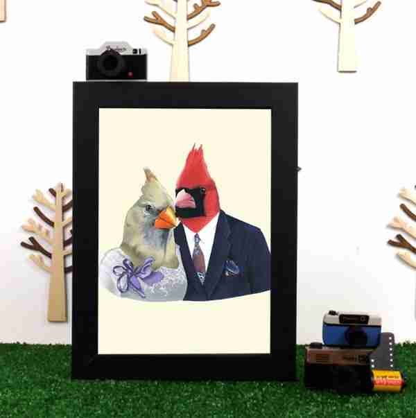 Ryan Berkley Well Dressed Mr & Mrs Cardinal Framed Print Wall Art
