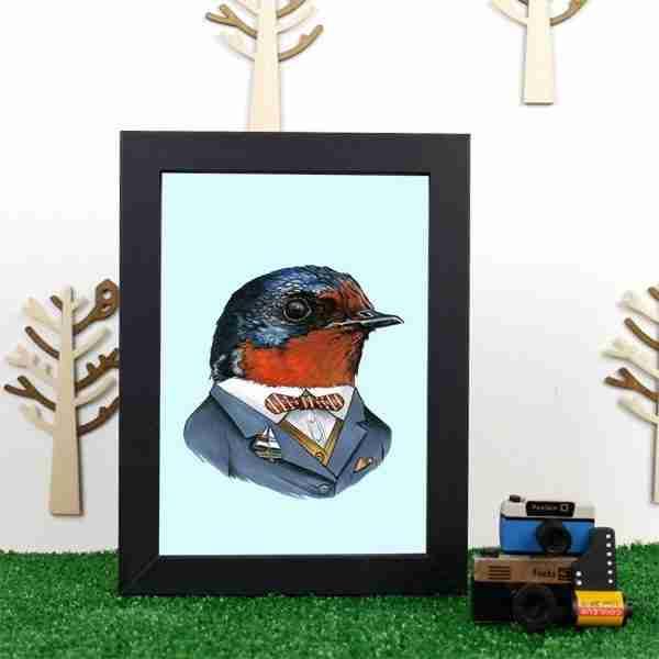 Ryan Berkley Well Dressed Swallow Framed Print Wall Art