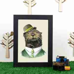 Ryan Berkley Well Dressed Sea otter Framed Print Wall Art