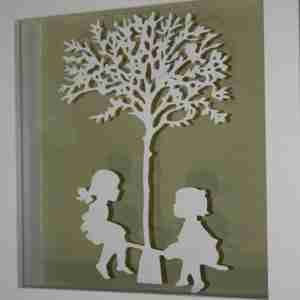 """""""Paper Cut"""" Luxury Fine Art - See Saw Children at Play (Framed)"""