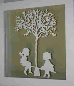 """Paper Cut"" Luxury Fine Art - See Saw Children at Play (Framed)"