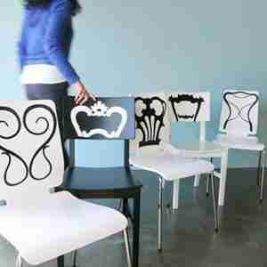 Chair Back Decal: Classic Chair Backs in Midnite Dark Grey by Jan Habraken