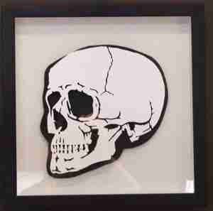 """Paper Cut"" Luxury Fine Art - Small Cranium Skull (Framed)"