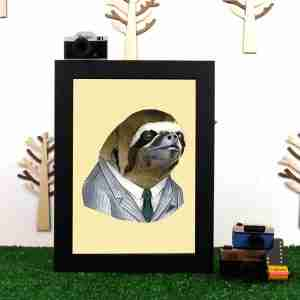 Ryan Berkley Well Dressed Sloth Framed Print Wall Art