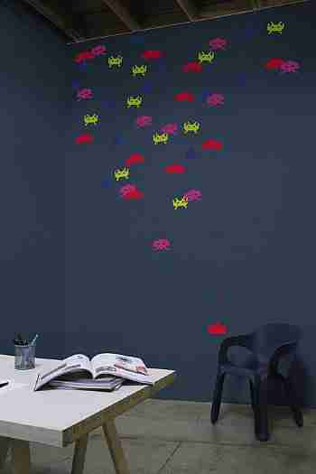 Retro Space Invaders Wall Sticker Re-Stik - Small Size
