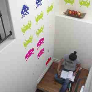 Retro Invader Wall Sticker / Decal in Multi Colours - Large Size