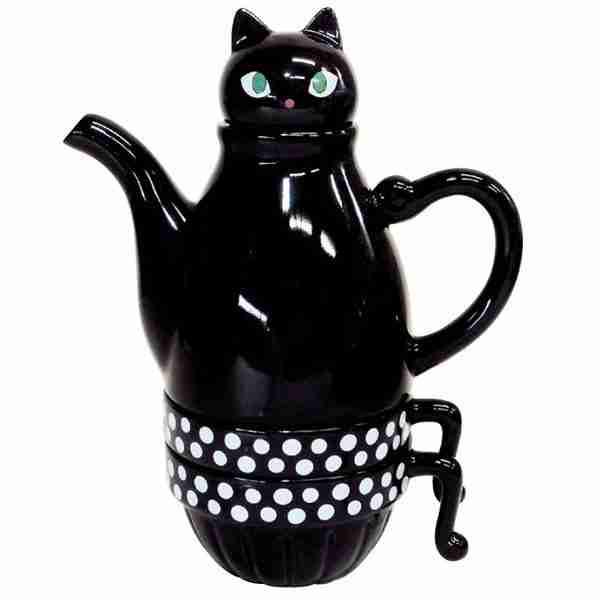 Tea for Two Deluxe Black Cat (Stackable) Tea Set by Shinzi Katoh