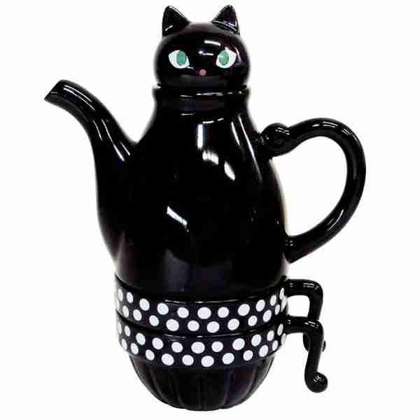 Tea for Two Deluxe Black Cat (Stackable) Tea Set by Shinzi Katoh