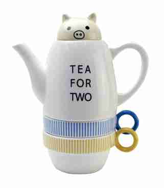 Tea for Two Pig (Stackable) Tea Set by Shinzi Katoh