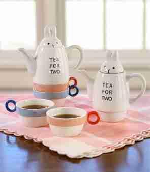 Tea for Two Rabbit (Stackable) Tea Set by Shinzi Katoh