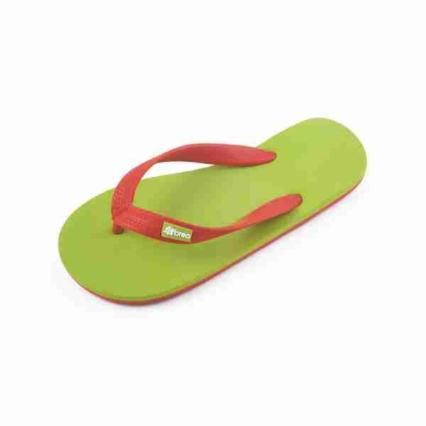 Eco Friendly Breo Thongs in Lime/Red