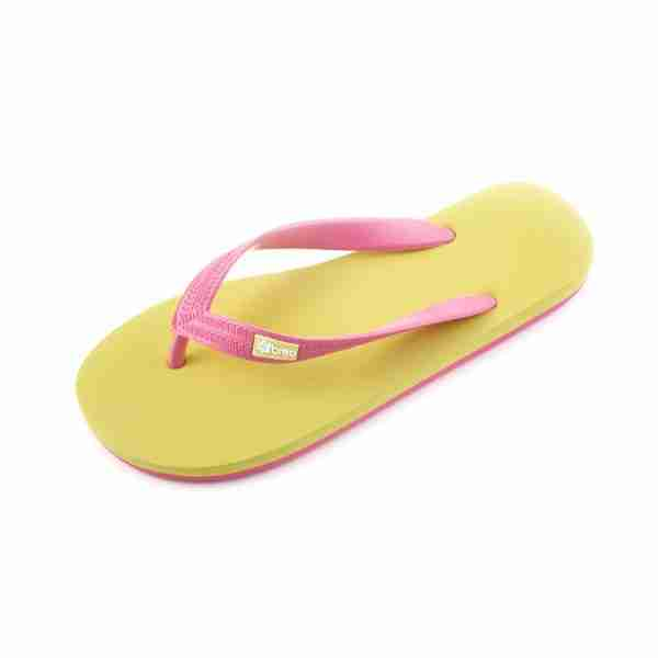 Eco Friendly Breo Thongs in Yellow/Pink